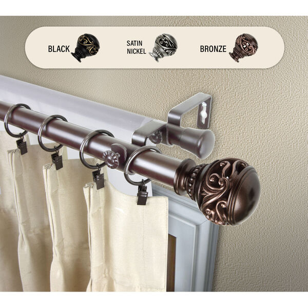 Isabella Bronze 240-Inch Double Curtain Rod, image 2