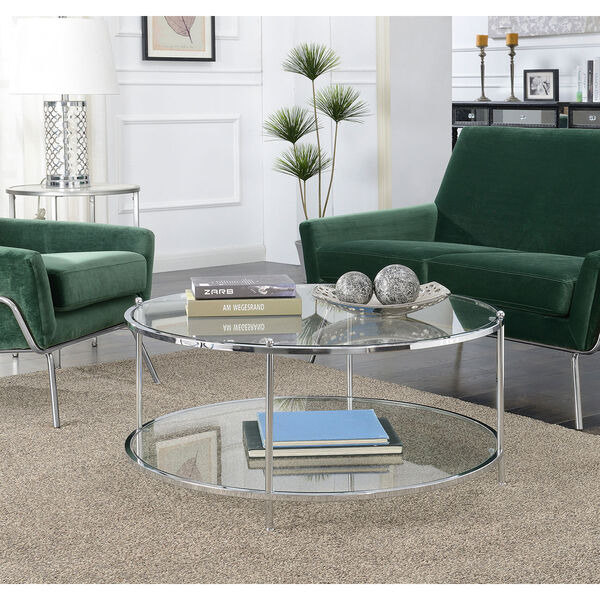 Royal Crest 2 Tier Round Glass Coffee Table in Clear Glass and Chrome Frame, image 2