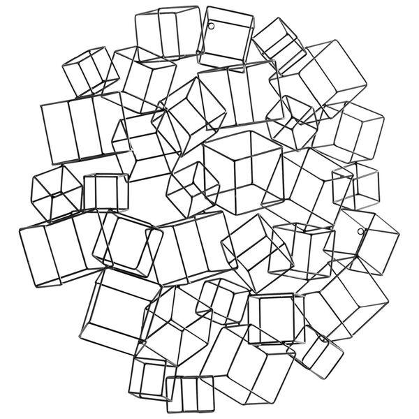 Black Cubed Wreath Wall Art, image 1