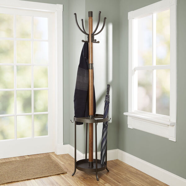 Gunmetal Metal and Wood Coat Rack with Umbrella Stand, image 1