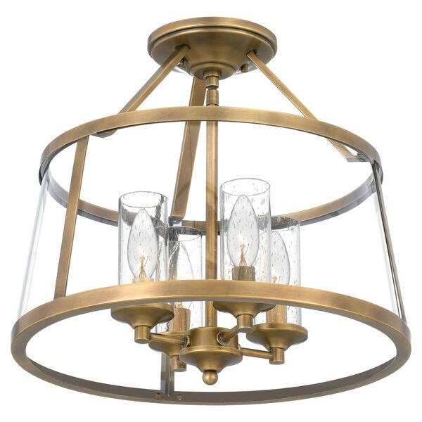 Barlow Weathered Brass Four-Light Semi-Flush Mount, image 5