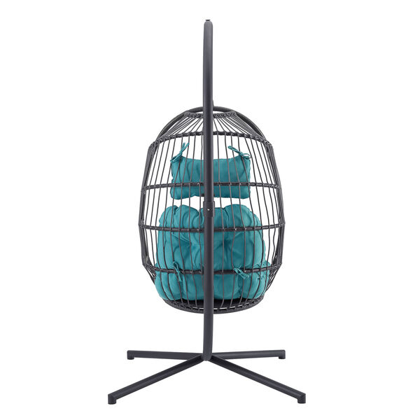 Gray and Teal Outdoor Swing Egg Chair with Stand, image 2