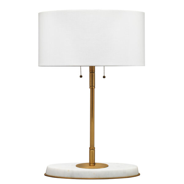Barcroft Antique Brass and White Two-Light Table Lamp, image 1