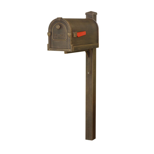 Savannah Curbside Copper Mailbox and Wellington Direct Burial Mailbox Post Smooth, image 1