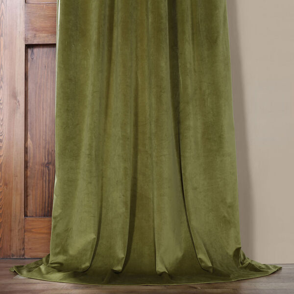 Green 84 x 50 In. Plush Velvet Curtain Single Panel, image 5