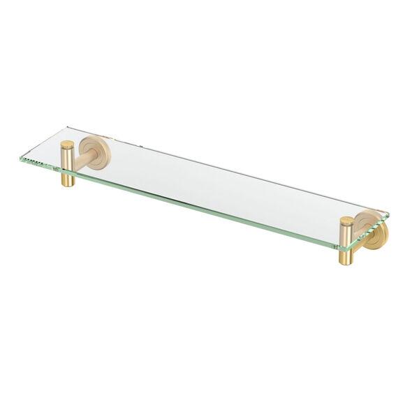 Latitude II Brushed Brass 20-Inch Glass Shelf, image 1