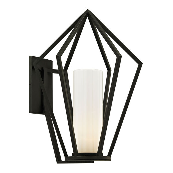 Whitley Heights Textured Black Large One-Light Outdoor Wall Sconce with Opal White Glass, image 1