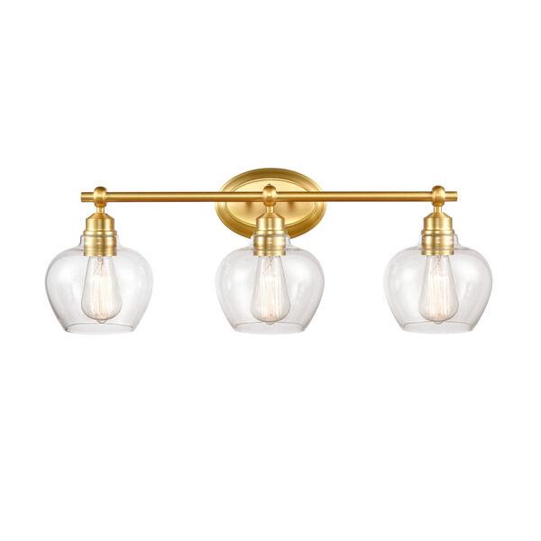 Amina Satin Gold Three-Light Bath Vanity, image 1