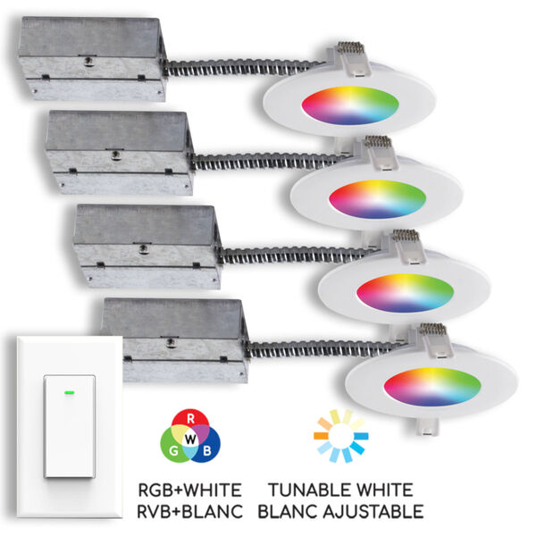 Matte White Wi-Fi RGB LED Recessed Fixture Kit-White with Swith, Pack of 4, image 1