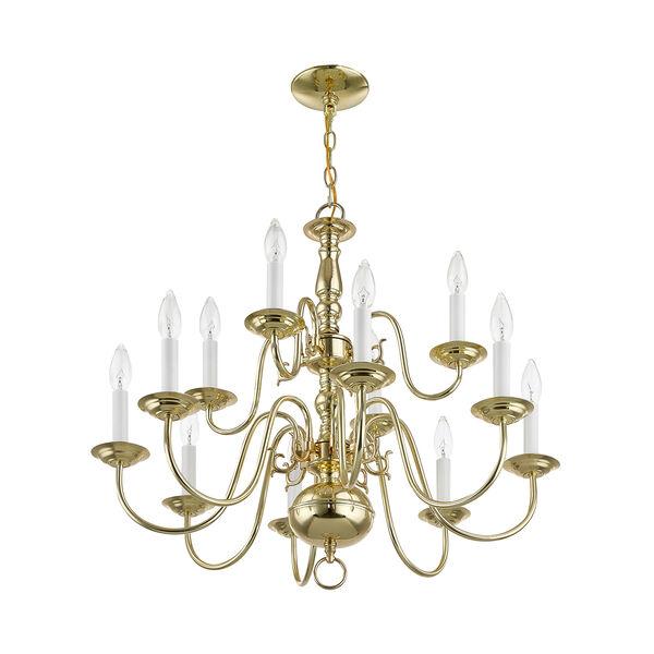 Williamsburgh Twelve-Light Polished Brass Chandelier, image 7