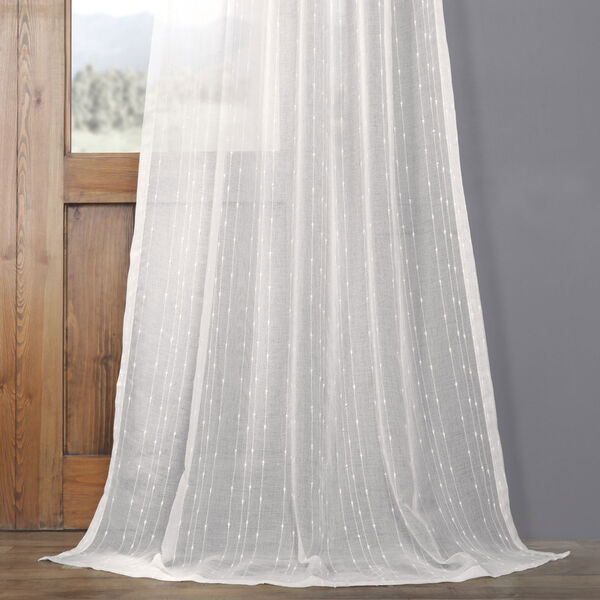 White Striped Faux Linen Sheer 108 x 50 In. Curtain Single Panel, image 4