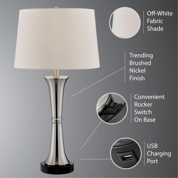 Gavino Brushed Nickel Two-Light Table Lamp, Set of Two, image 6
