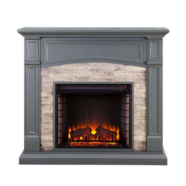 Seneca Cool Slate Gray Electric Media Fireplace with Weathered Stacked Stone, image 2