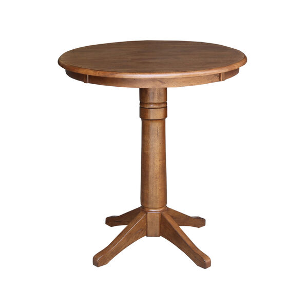 Distressed Oak 30-Inch Round Pedestal Gathering Table with Two X-Back Counter Height Stool, Set of Three, image 3