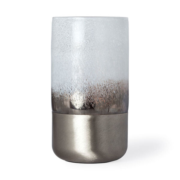 Baltic II White and Brushed Silver Glass Vase, image 1