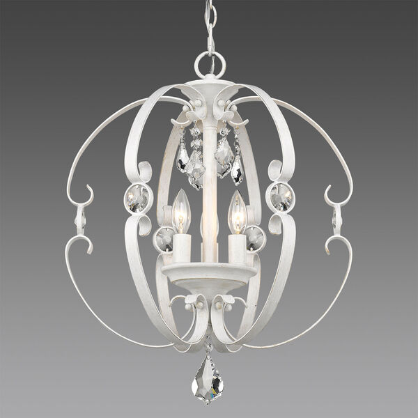 Ella French White Three-Light Chandelier, image 1