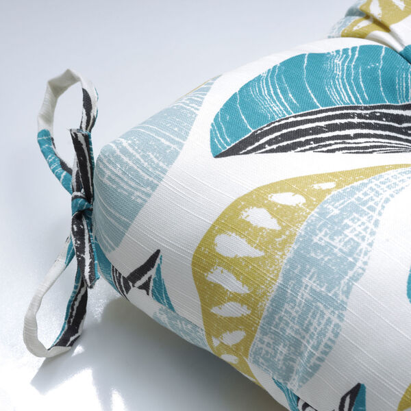 Leaf Block Teal and Citron 60-Inch Tufted Bench Cushion, image 3