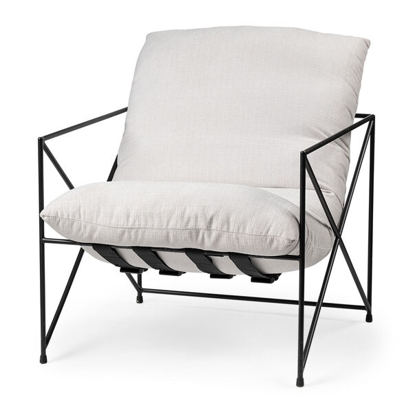 Leonidas Black and Cream Upholstered Padded Seat Arm Chair, image 1