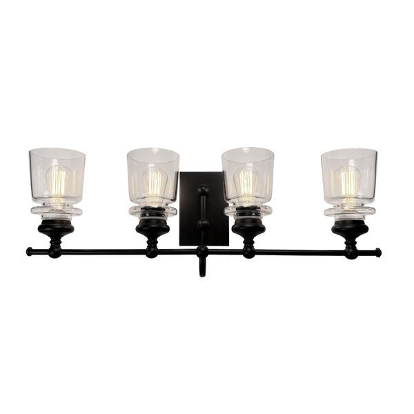 Castara Black and Brass Four-Light Bath Vanity, image 1