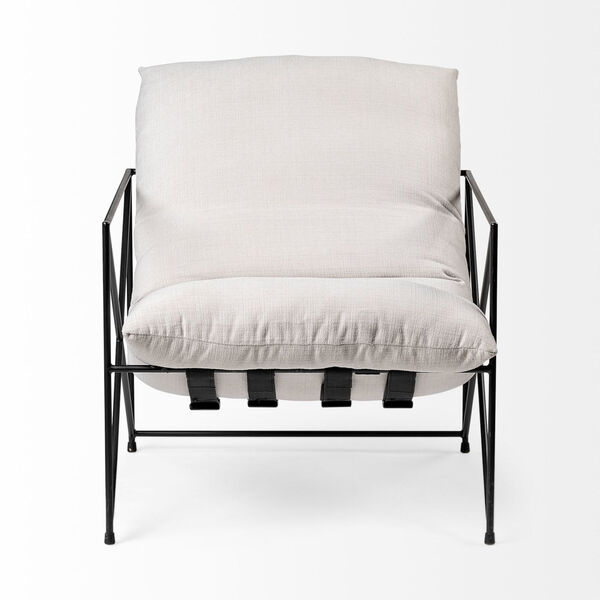 Leonidas Black and Cream Upholstered Padded Seat Arm Chair, image 2