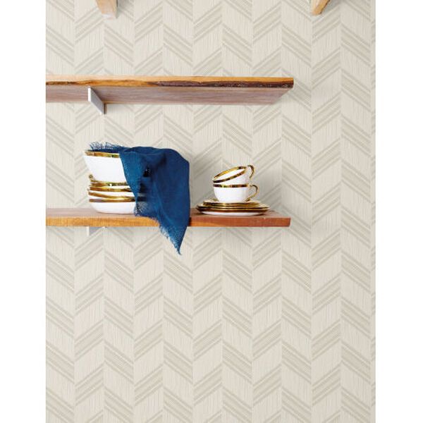 Boho Rhapsody Cinder Gray and Ivory Boho Chevron Stripe Unpasted Wallpaper, image 1