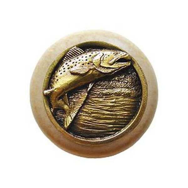 Natural Wood Leaping Trout with Antique Brass, image 1