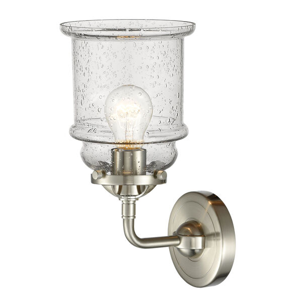 Nouveau Brushed Satin Nickel Six-Inch One-Light Wall Sconce with Seedy Glass Shade, image 2