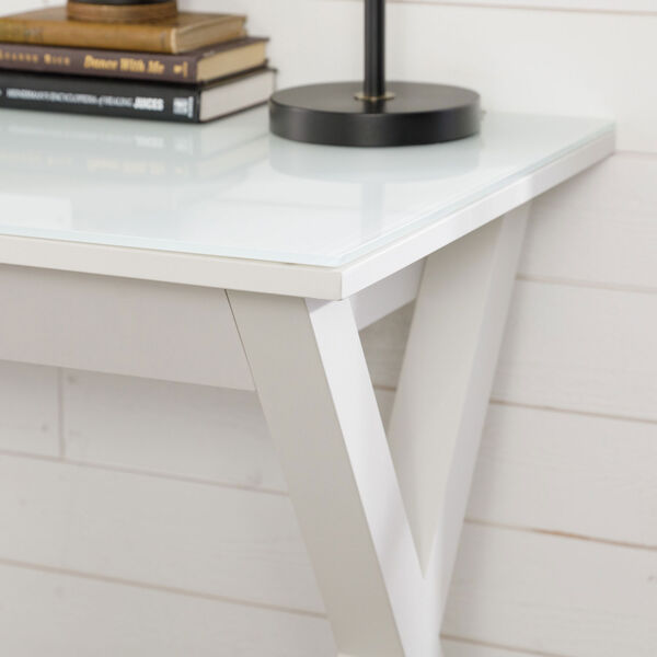 Home Office 48-inch White Glass Computer Desk, image 9