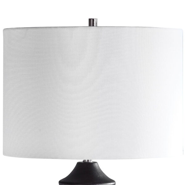 Mendocino Rustic Black One-Light Table Lamp with Round Drum Hardback Shade, image 4