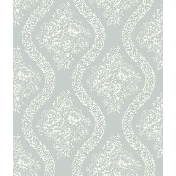 Coverlet Floral White and Blue Removable Wallpaper- SAMPLE SWATCH ONLY, image 1