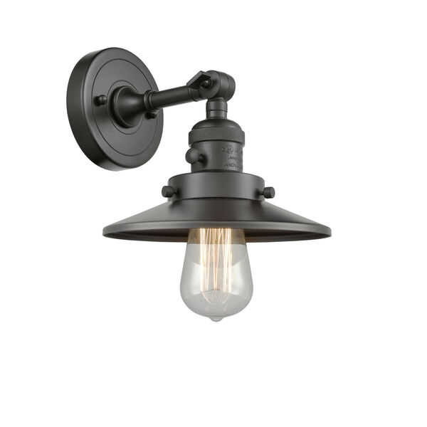 Franklin Restoration Oil Rubbed Bronze Eight-Inch One-Light Wall Sconce with Railroad Oil Rubbed Bronze Metal Shade, image 1