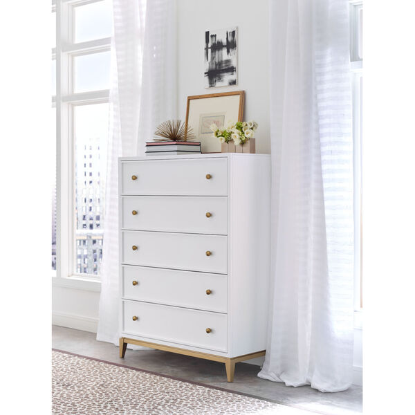 Chelsea by Rachael Ray White with Gold Accents Drawer Chest, image 2