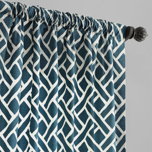 Navy Blue 120 x 50 In. Printed Cotton Twill Curtain Single Panel, image 3