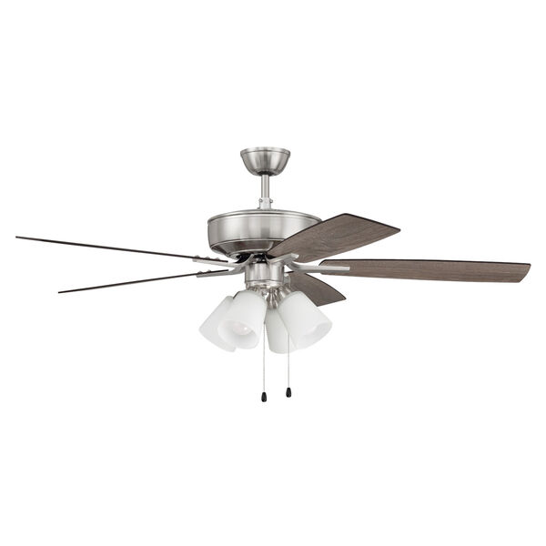 Pro Plus Brushed Polished Nickel 52-Inch Four-Light Ceiling Fan with White Frost Bell Shade, image 4