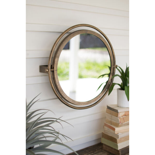 Gold Round Wall Mirror with Adjustable Bracket, image 1
