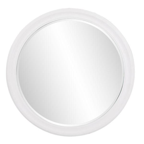 George Matte White Round Mirror, image 1