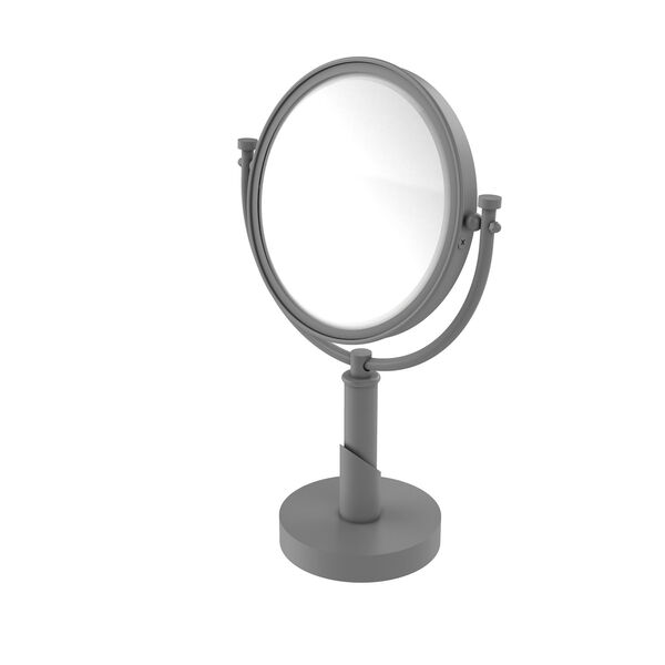 Tribecca Matte Gray Eight-Inch Vanity Top Make-Up Mirror 4X Magnification, image 1