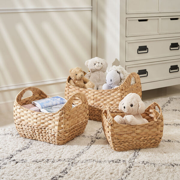 Amelia Sandy Three-Piece Water Hyacinth Picnic and Grocery Basket Set with Handles, image 2