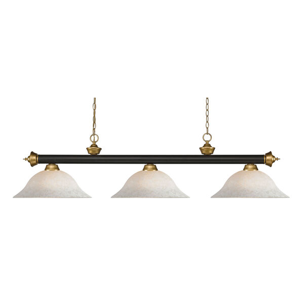 Riviera Bronze and Satin Gold 16-Inch Three-Light Island Pendant with White Mottle Glass Shade, image 1