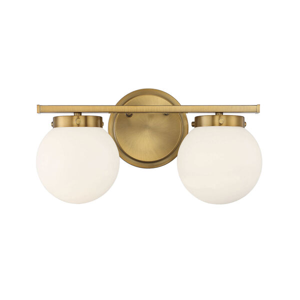 Cora Natural Brass Two-Light Bath Vanity with Opal Glass, image 1