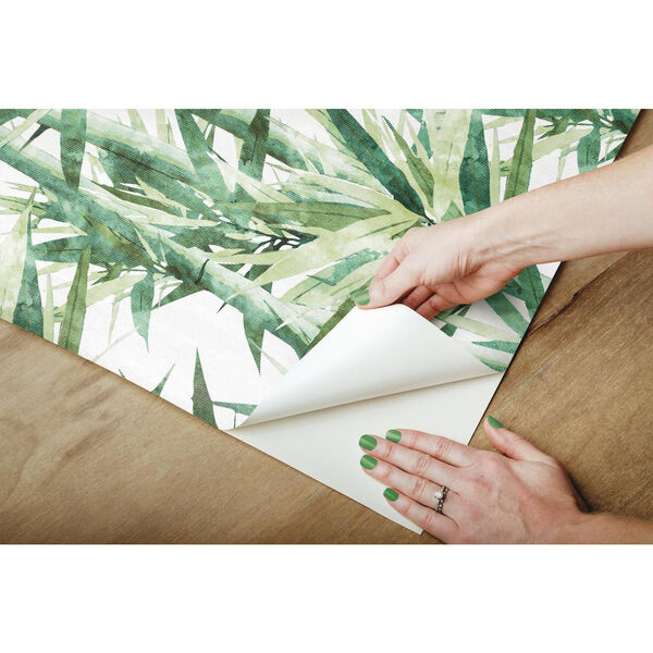 Lucky Bamboo Green And White Peel and Stick Wallpaper, image 6