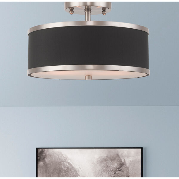 Park Ridge Brushed Nickel 13-Inch Two-Light Ceiling Mount with Hand Crafted Black Hardback Shade, image 6
