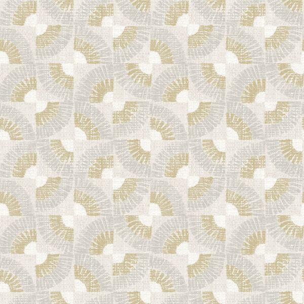 Grasscloth Gold Fans Canary Peel and Stick Wallpaper, image 2