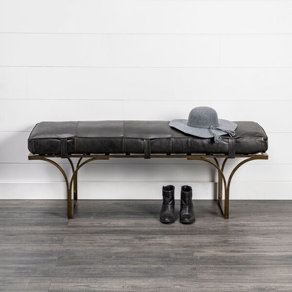 Jessie Black and Gold Bench with Genuine Leather Seat, image 6