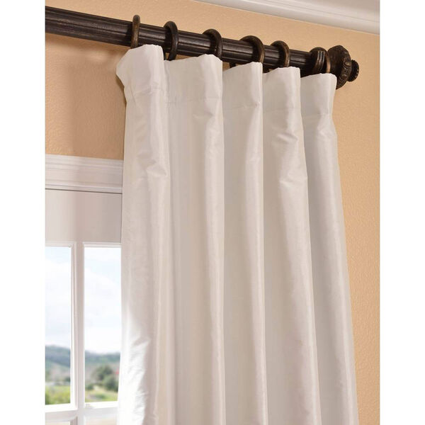 Eggshell 96 x 50-Inch Blackout Faux Silk Taffeta Curtain Single Panel, image 3