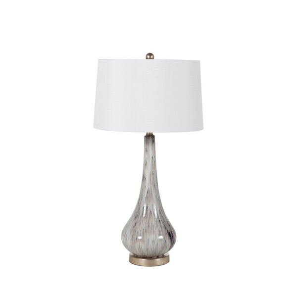 Powell Light Gray Flower Glaze and Champagne Silver 8-Inch One-Light Table Lamp, image 1