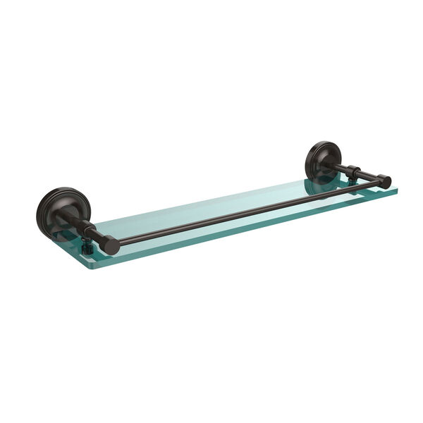 Prestige Regal 22 Inch Tempered Glass Shelf with Gallery Rail, Oil Rubbed Bronze, image 1