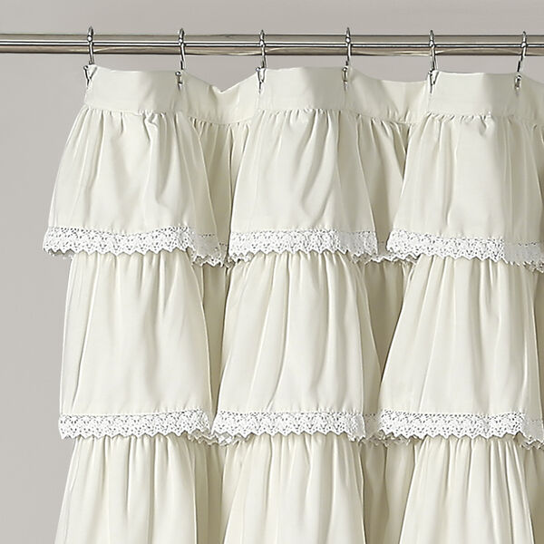 Lace Ruffle Ivory 72 In. Shower Curtain, image 2