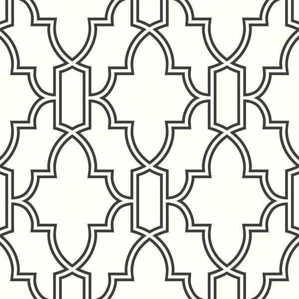 NextWall Black and White Tile Trellis Peel and Stick Wallpaper, image 2