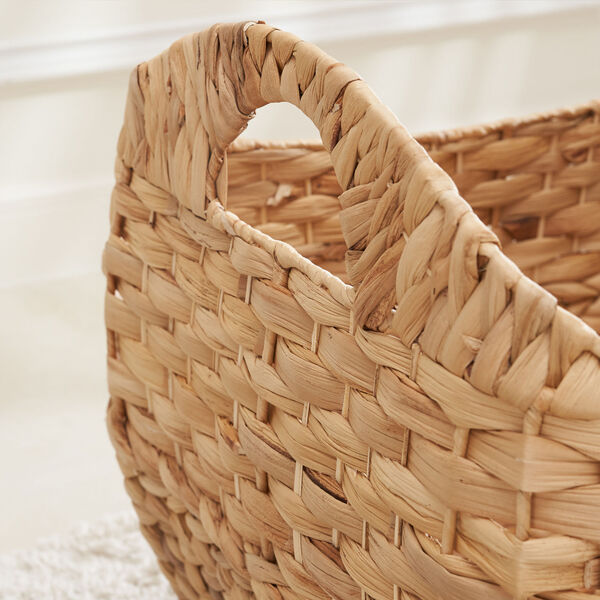 Amelia Sandy Three-Piece Water Hyacinth Picnic and Grocery Basket Set with Handles, image 4